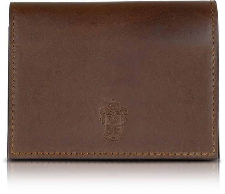 Pineider Power Elegance Double Dark Brown Leather Card Holder