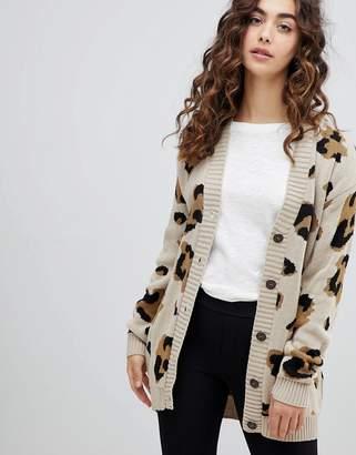 Daisy Street boyfriend cardigan in leopard