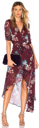 Nicholas Burgundy Floral Wrap Dress