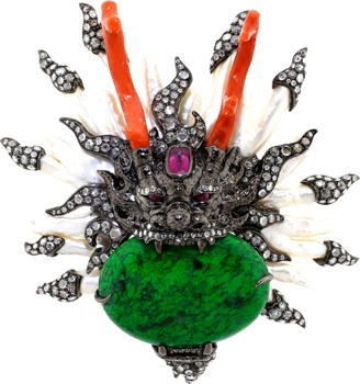 LOTUS ARTS de VIVRE Dragon Pearl Diamond Brooch $34,930 thestylecure.com