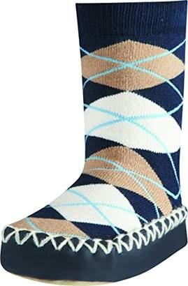 Playshoes Girls' Slipper Socks, Moccasins, House Shoes, Plaid,6-12 (Size:17-18/)