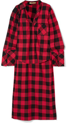 Hellessy Kirstin Asymmetric Checked Cotton And Silk-blend Twill Shirt - Red