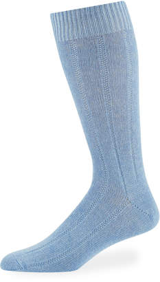 Neiman Marcus Men's Cashmere Dress Socks, Blue