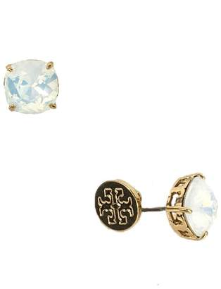 Tory Burch Tory Set Crystal Stud Earrings, White Opalescent