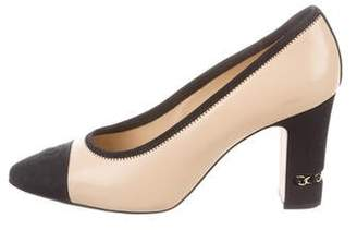 Chanel CC Leather Pointed-Toe Pumps
