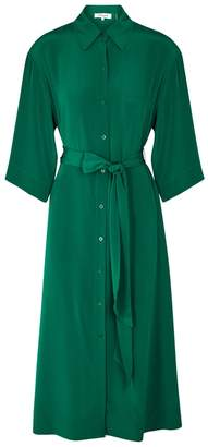 Diane von Furstenberg Green Silk Shirt Dress