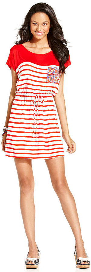 Keds Juniors Dress, Short Sleeve Striped Mixed-Print