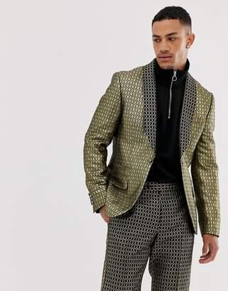 Asos Design DESIGN slim suit tuxedo jacket in gold diamond jacquard