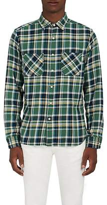 Barneys New York MEN'S PLAID COTTON FLANNEL OVERSHIRT SIZE S