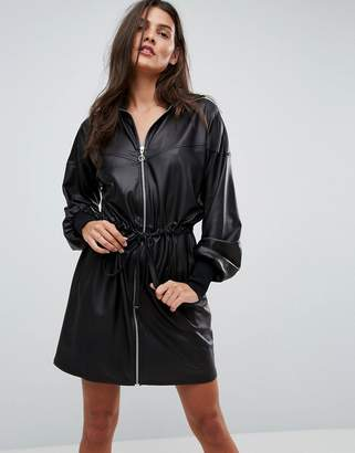 Asos Design Faux Leather Track Dress