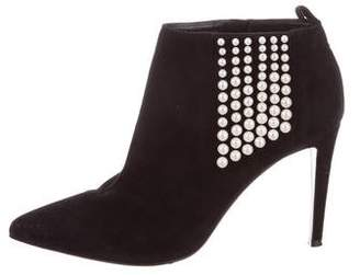Sergio Rossi Faux Pearl-Embellished Suede Booties