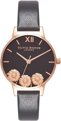 Olivia Burton Dancing Daisy Leather Strap Watch, 30mm