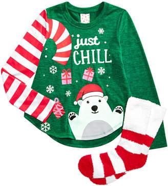 Self Esteem Big Girls 2-Pc. Holiday Top & Socks Set