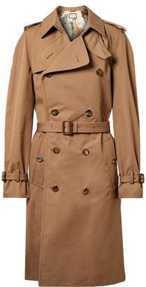 Gucci Appliquéd Cotton-blend Gabardine Trench Coat - Mushroom
