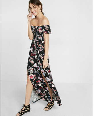 Express floral print smocked off the shoulder maxi dress $69.90 thestylecure.com