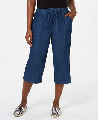 Karen Scott Petite Edna Denim Cargo Capri Pants