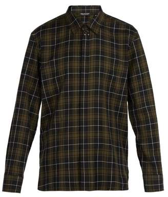 Neil Barrett Barbell Tartan Cotton Shirt - Mens - Black