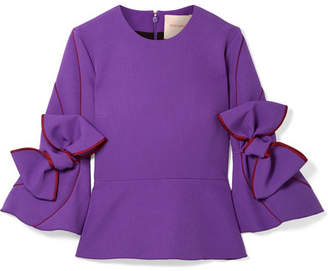 Roksanda Ricciarini Bow-embellished Satin-trimmed Crepe Blouse - Purple
