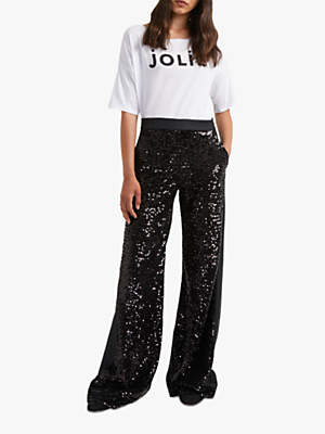 French Connection Alodia Sequin Wide Leg Trousers, Black