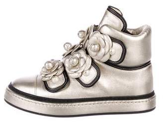 Chanel 2016 Camellia Metallic Sneakers