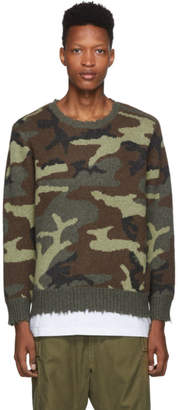 R 13 Green Camo Cashmere Sweater