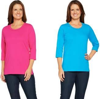 Factory Quacker Braided Sparkle Set of 2 3/4 Sleeve T-shirts