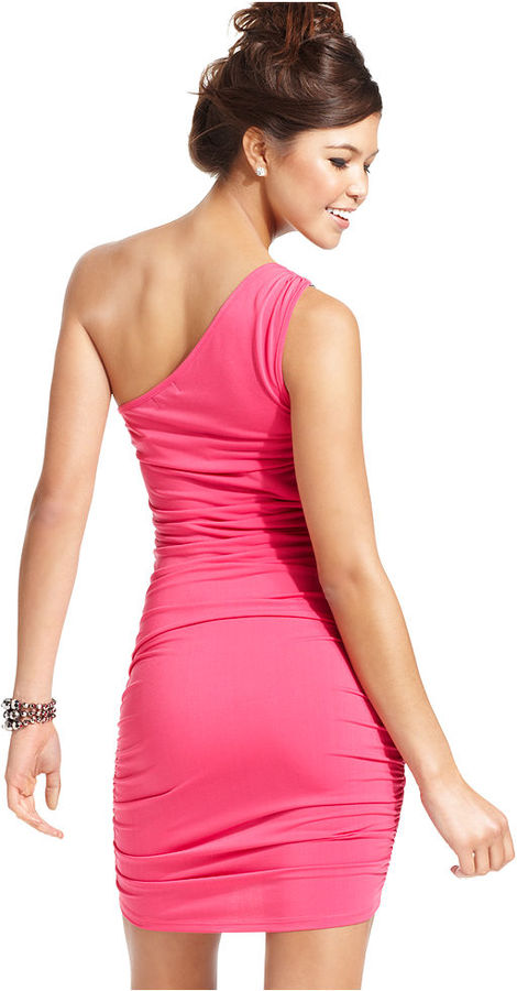 Tempted Juniors Dress, Sleeveless Ruched One-Shoulder