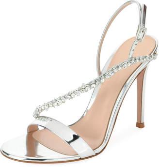 Gianvito Rossi Asymmetric Metallic Strass Sandal