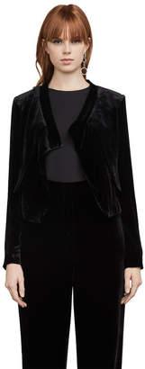BCBGMAXAZRIA Lloyd Velvet Asymmetrical Jacket