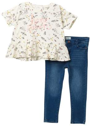 "Jessica Simpson Printed ""Home Grown\"" Top & Jeans Set (Toddler & Little Girls)"