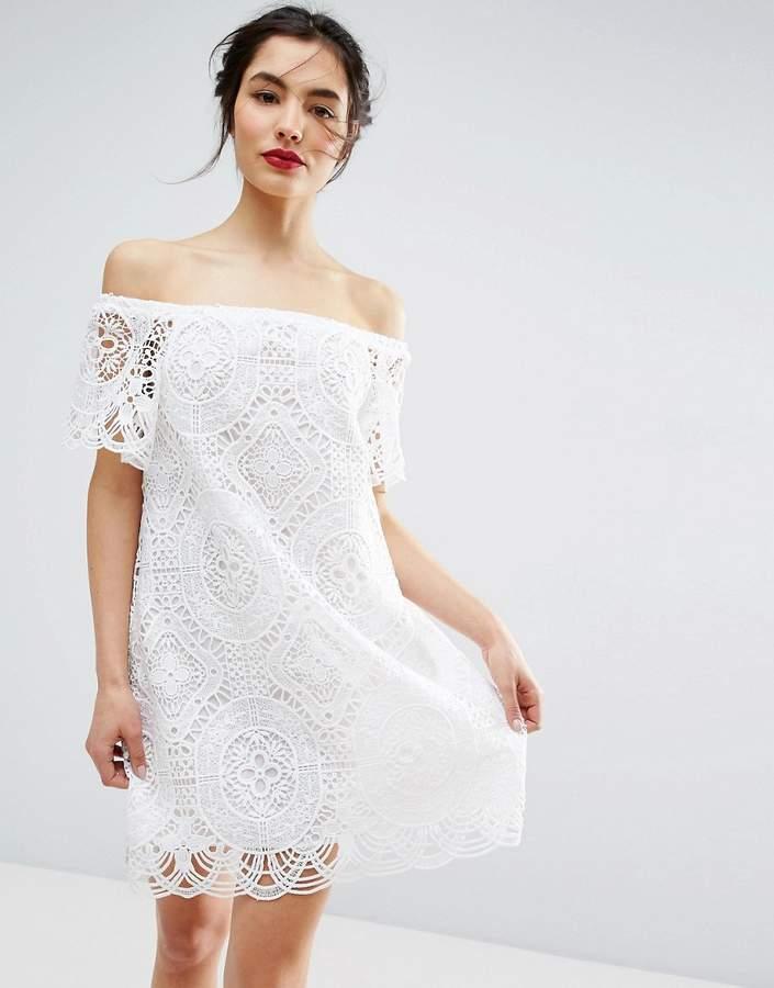 AsosASOS PREMIUM Lace Off Shoulder Dress