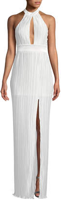 The Jetset Diaries Aster Pleated Halter-Neck Maxi Dress