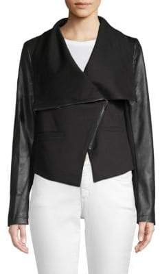 Bagatelle Faux Leather-Trimmed Moto Jacket