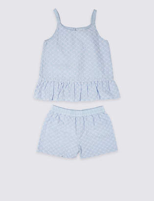 Marks and Spencer Pure Cotton Frill Short Pyjamas (3-16 Years)