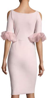Chiara Boni Fabrizia Cold-Shoulder V-Neck Cocktail Dress