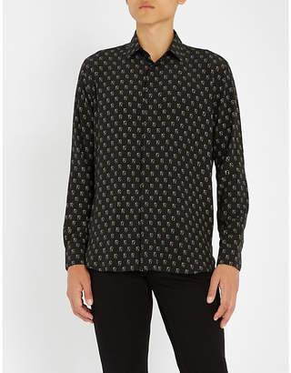 Saint Laurent Playing card-print regular-fit silk-crepe shirt