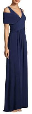 BCBGMAXAZRIA A-Line Cold-Shoulder Gown