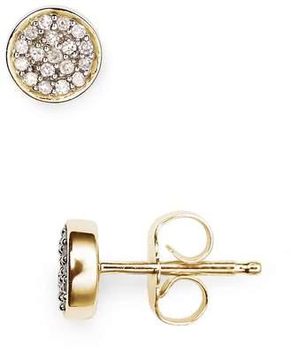 Adina 14K Yellow Gold Pavé Diamond Disc Stud Earrings