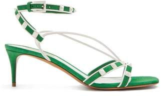 Valentino Free Rockstud Suede Sandals - Womens - Green White