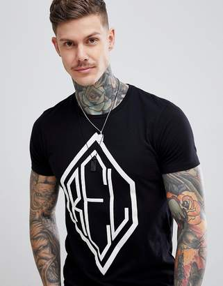 Religion muscle fit t-shirt with split hem in black