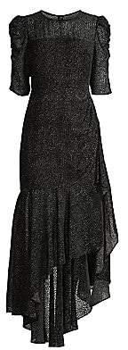 Shoshanna Women's Joya Puff-Sleeve Asymmetric Flounce High-Low Dress - Size 0