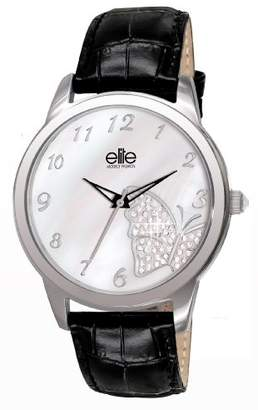 Elite Women's Quartz Watch with Mother of Pearl Dial Analogue Display and Black Leather Strap E5298.2S.002
