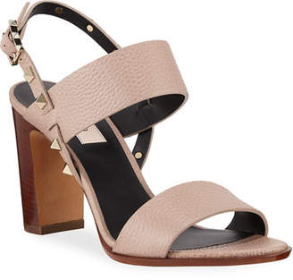 Valentino Rockstud Double-Strap Sandals