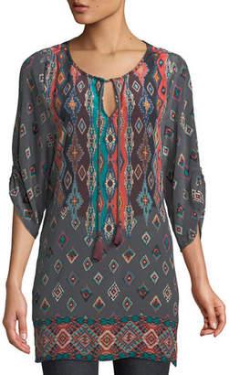 Tolani Saylor Ruched-Sleeves Batik-Print Silk Tunic Dress, Plus Size