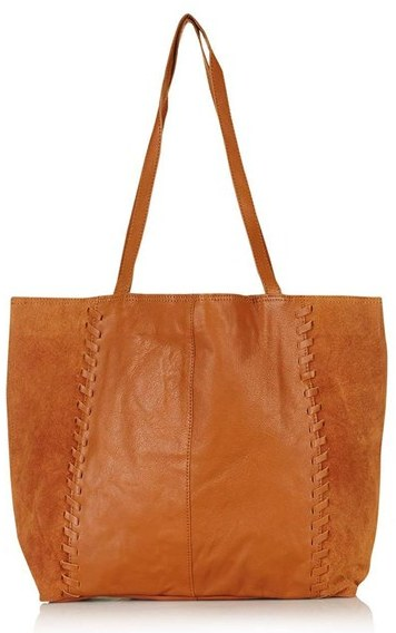 TopshopTopshop 'Woody' Whipstitch Detail Leather Shopper Bag - Brown