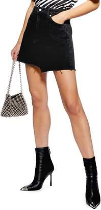 Topshop Asymmetrical Denim Miniskirt
