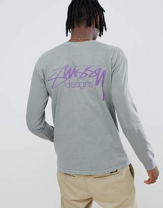 Stussy Pigment Dyed Long Sleeve T-Shirt With Design Back Logo in Gray