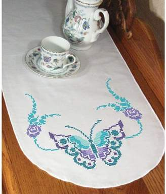 "Fairway Needlecraft Fairway Stamped Perle Edge Dresser Scarf 15""X42""-Butterfly"