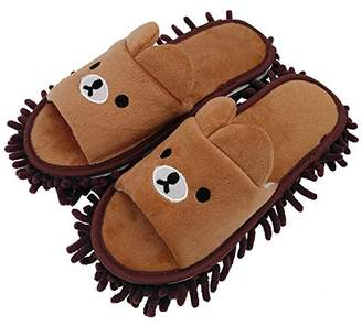MOP Selric [Bear Image] Super Chenille Microfiber Washable Slippers Shoes for Women