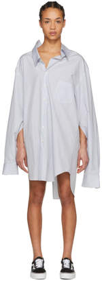 Junya Watanabe White and Blue Oversized Shirt Dress